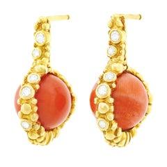 Gilbert Albert Natural Coral and Diamond Set Gold Earrings
