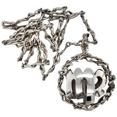Gilbert Albert Silver 1970s Virgo Zodiac Pendant Necklace