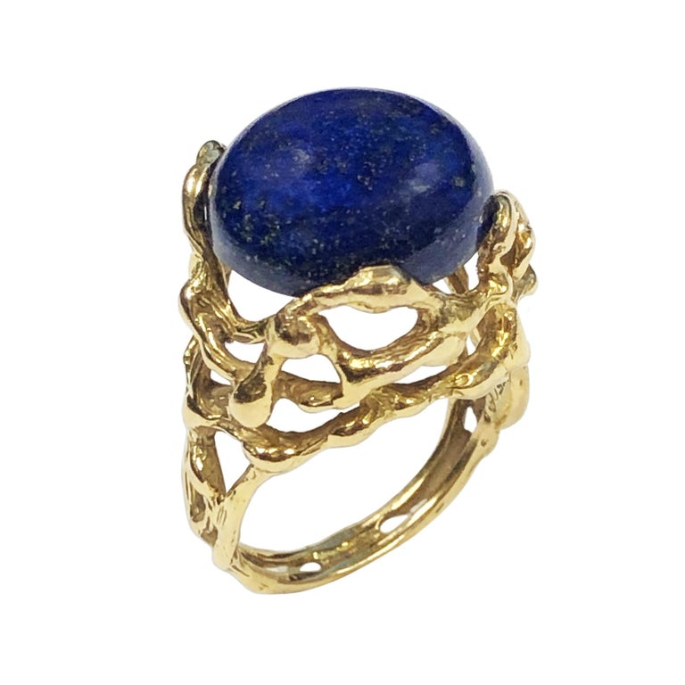 Cabochon Gilbert Albert Yellow Gold and Lapis Modernist Ring For Sale