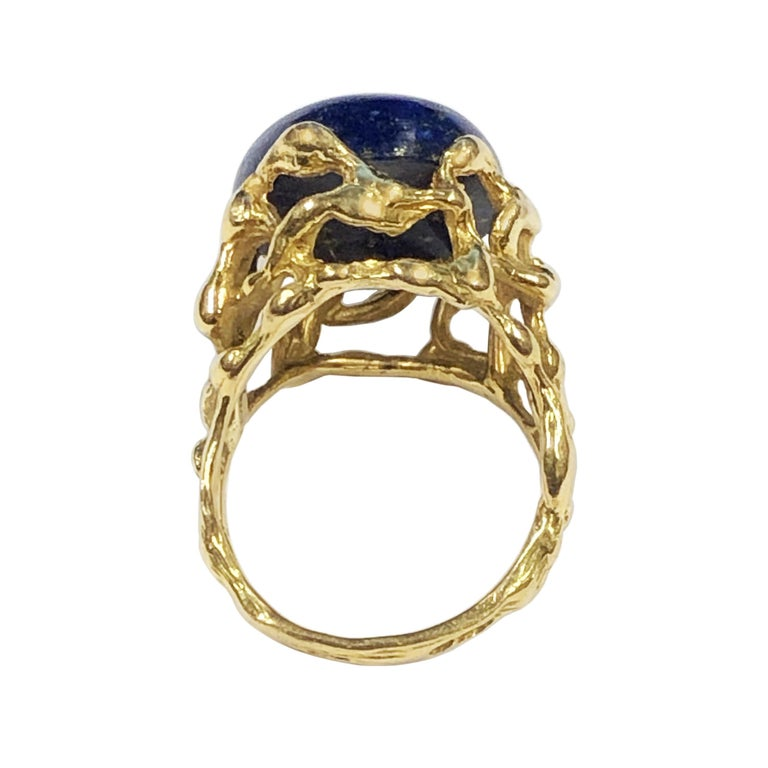 Gilbert Albert Yellow Gold and Lapis Modernist Ring In Excellent Condition For Sale In Chicago, IL