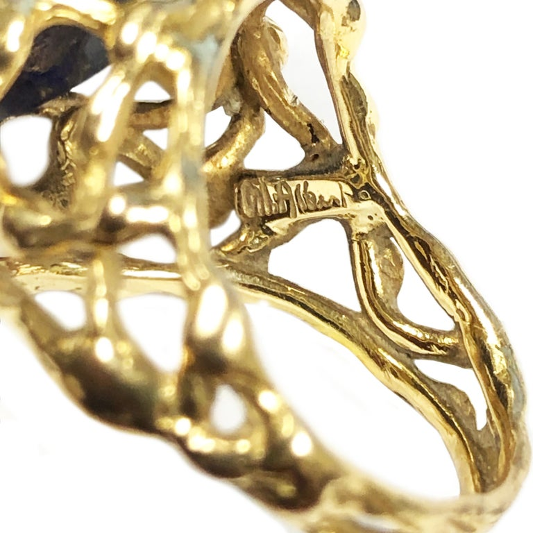 Women's or Men's Gilbert Albert Yellow Gold and Lapis Modernist Ring For Sale