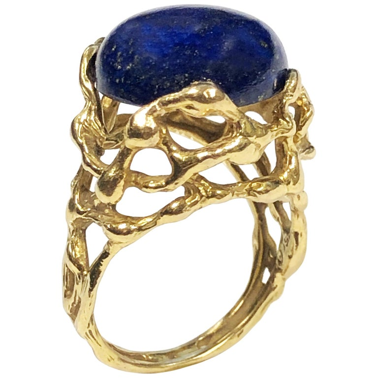 Gilbert Albert Yellow Gold and Lapis Modernist Ring For Sale