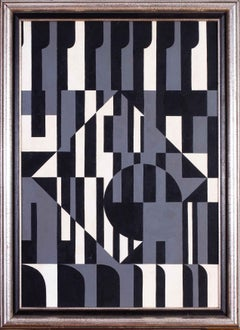 Black and white 20th Century Belgian abstract oil painting