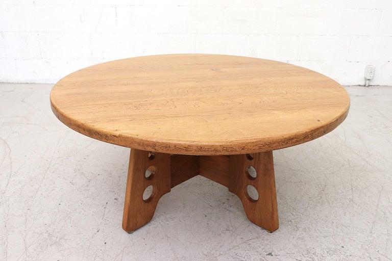 Round Wood Coffee Table.Gilbert Marklund Attr Brutalist Round Wood Coffee Table