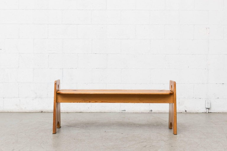 Charlotte Perriand inspired midcentury pine bench with round cut-out detail. Lightly refinished.