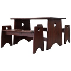 Gilbert Marklund Dark Wood Table and Bench Set