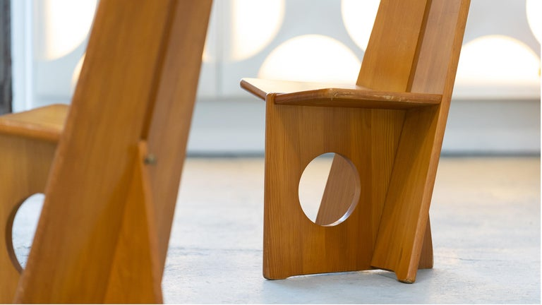 Swedish Gilbert Marklund, Dining Chair Set in Pine, 1970 by Furusnickarn AB, Sweden For Sale