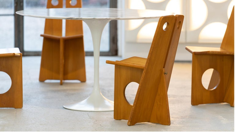 Late 20th Century Gilbert Marklund, Dining Chair Set in Pine, 1970 by Furusnickarn AB, Sweden For Sale