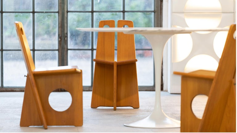 Gilbert Marklund, Dining Chair Set in Pine, 1970 by Furusnickarn AB, Sweden For Sale 1