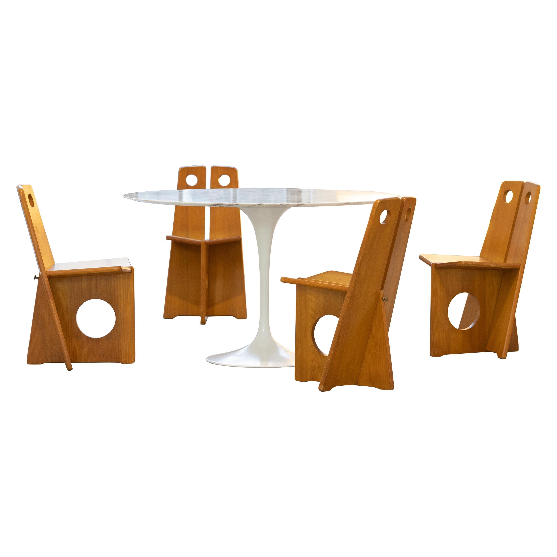 Gilbert Marklund, Dining Chair Set in Pine, 1970 by Furusnickarn AB, Sweden