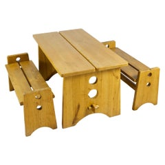 Gilbert Marklund Dining Table and Benches in Solid Pine Set Handcrafted, 1960s