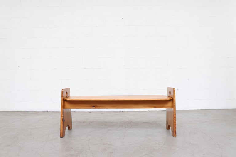 Gilbert Marklund Pine Dining Table and Bench Set For Sale 7