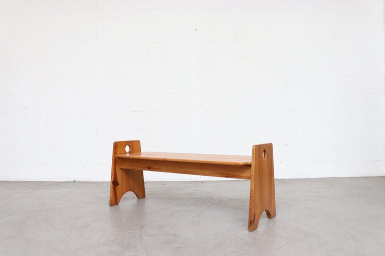 Gilbert Marklund Pine Dining Table and Bench Set For Sale 8