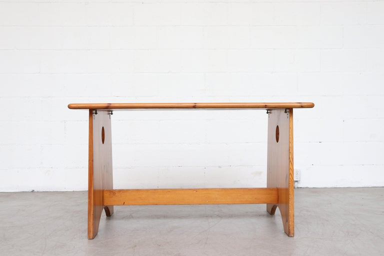 Mid-Century Modern Gilbert Marklund Pine Dining Table and Bench Set For Sale