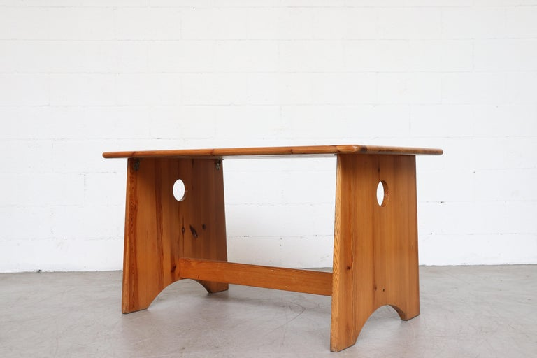 Swedish Gilbert Marklund Pine Dining Table and Bench Set For Sale