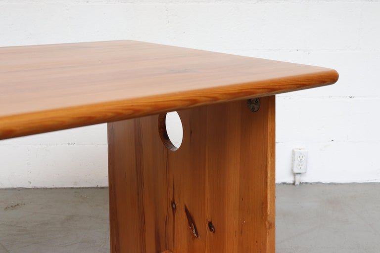 Gilbert Marklund Pine Dining Table and Bench Set For Sale 2