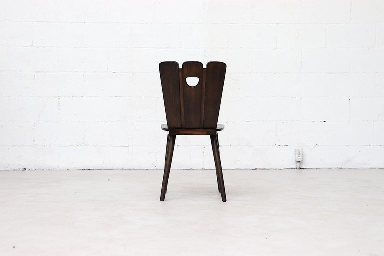 Mid-20th Century Gilbert Marklund Style Brutalist Fan Topped Dining Chairs For Sale