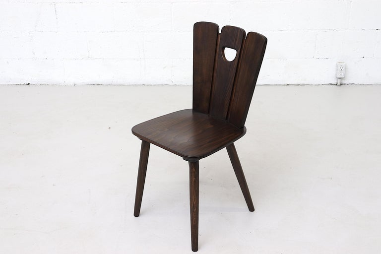 Wood Gilbert Marklund Style Brutalist Fan Topped Dining Chairs For Sale