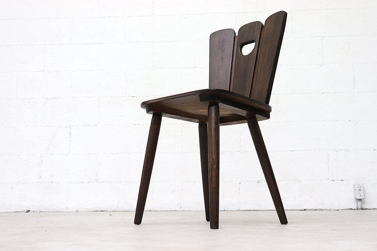 Gilbert Marklund Style Brutalist Fan Topped Dining Chairs For Sale 1