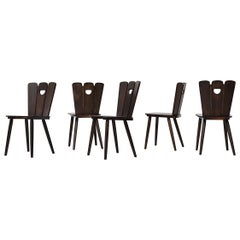 Gilbert Marklund Style Brutalist Fan Topped Dining Chairs
