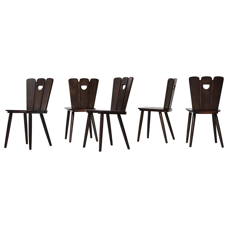 Gilbert Marklund Style Brutalist Fan Topped Dining Chairs For Sale