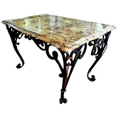 Gilbert Poillerat Inspired French Wrought Iron Center Table
