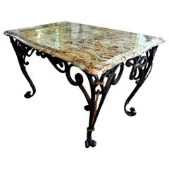 Gilbert Poillerat Inspired French Wrought Iron Center Table with Marble Top