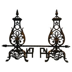 Gilbert Poillerat Style, Important Pair of Wrought Iron and Gilt Iron Andirons