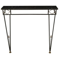 Gilbert Poillerat Style Iron and Brass Wall-Mount Console with Black Stone Top