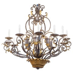 Gilbert Poillerat, Wrought Iron Art Deco Chandelier, Gilt Highlights, circa 1930