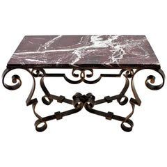 Gilbert Poillerat Wrought Iron Table with Red, Black and White Marble Top