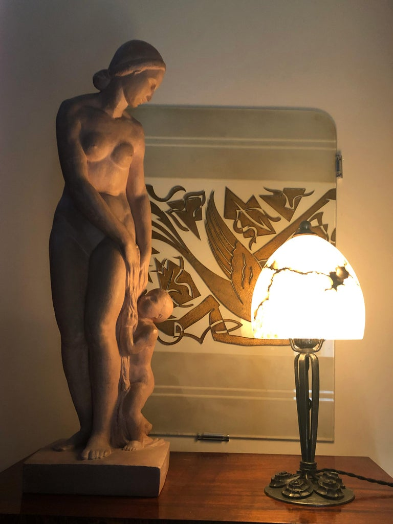 Art Deco Gilbert Privat, Bather with Child, Terracotta, 1920s For Sale