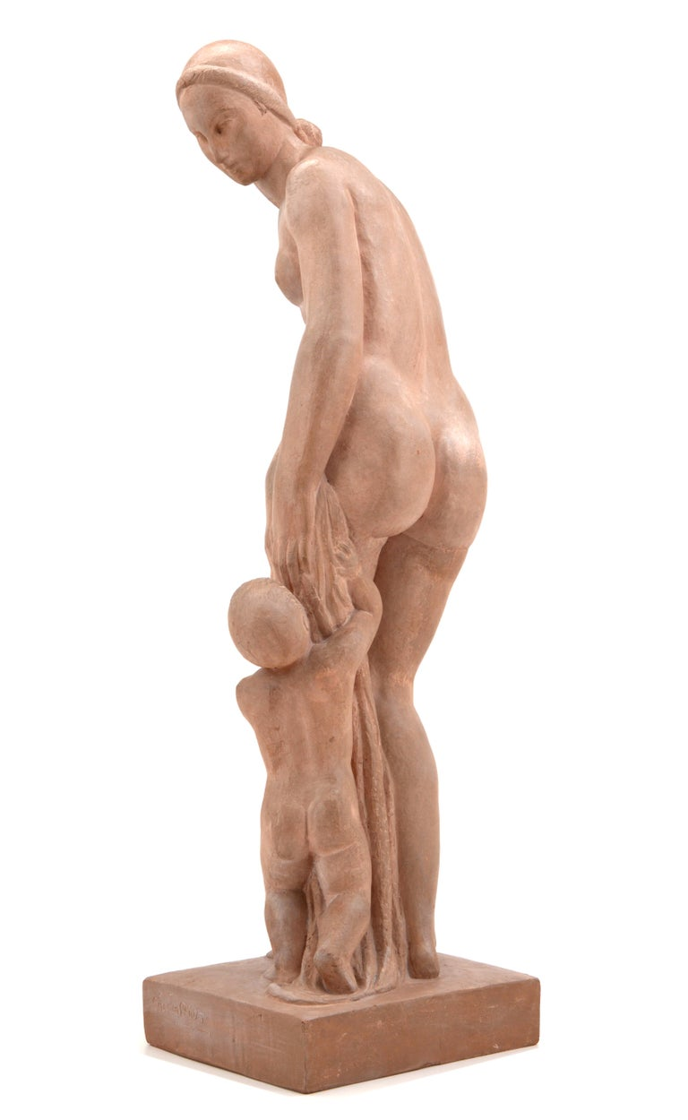 Early 20th Century Gilbert Privat, Bather with Child, Terracotta, 1920s For Sale