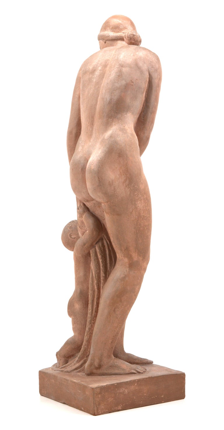 Gilbert Privat, Bather with Child, Terracotta, 1920s For Sale 1