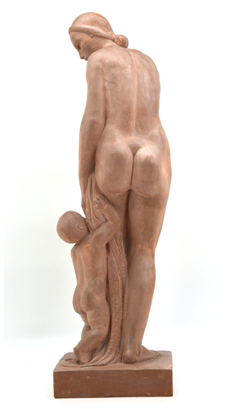 Gilbert Privat, Bather with Child, Terracotta, 1920s For Sale 2