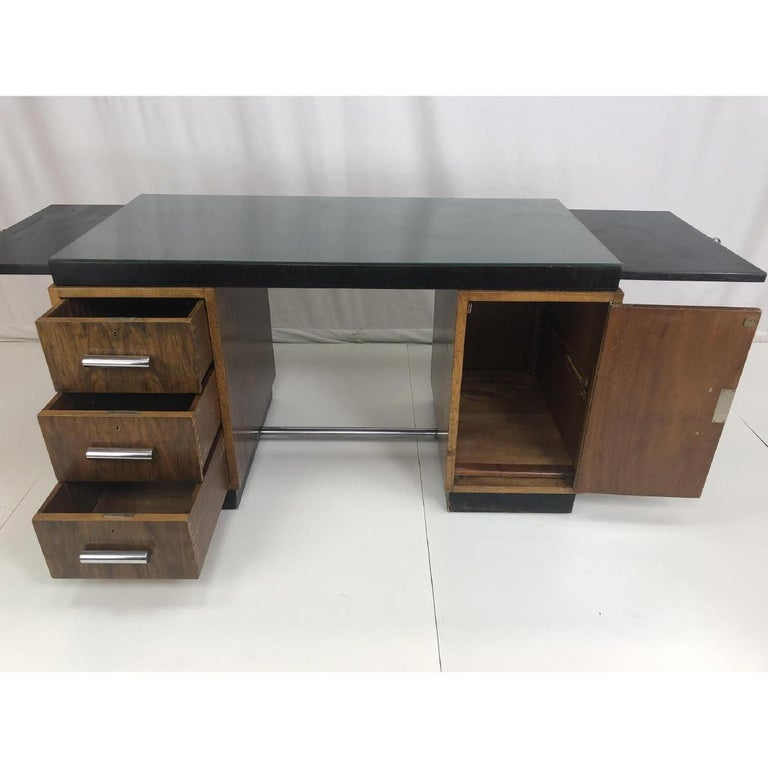 Gilbert Rohde Art Deco Ebony Top Mid-Century Modern Desk or Writing Table For Sale 13