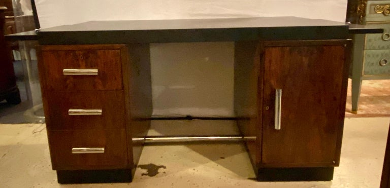 Gilbert Rohde Art Deco Ebony Top Mid-Century Modern Desk or Writing Table In Good Condition For Sale In Stamford, CT