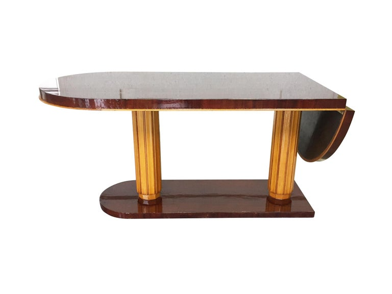 American Gilbert Rohde Art Deco Oval Drop-Leaf Desk For Sale