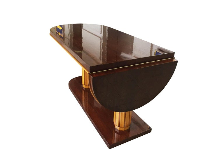 Lacquered Gilbert Rohde Art Deco Oval Drop-Leaf Desk For Sale