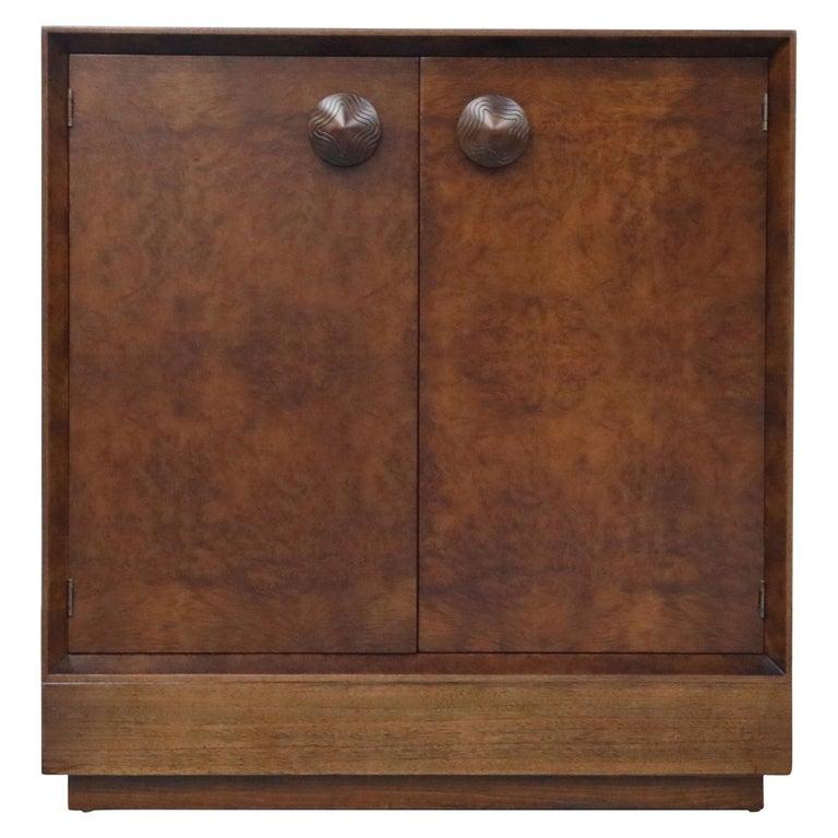Gilbert Rohde for Herman Miller 'Paldao' Burl Dresser Cabinet, 1940s, Signed For Sale