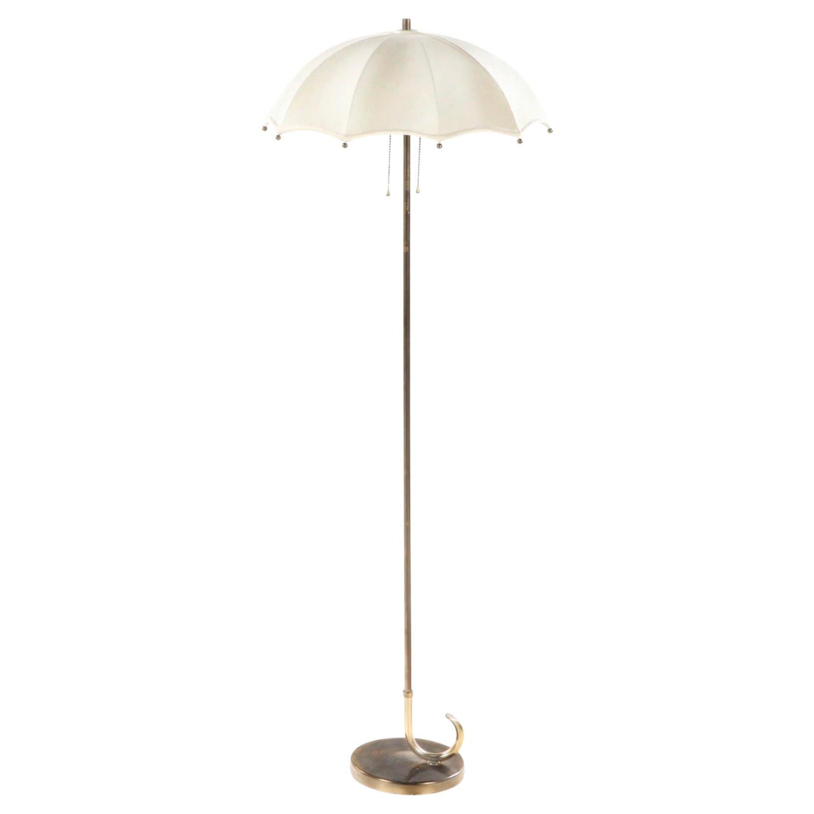 Gilbert Rohde for Mutual Sunset Lamp Company Brass Umbrella Floor Lamp, 1930s