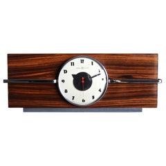 Gilbert Rohde Macassar Ebony Table Clock, No. 6366 for Herman Miller, circa 1940
