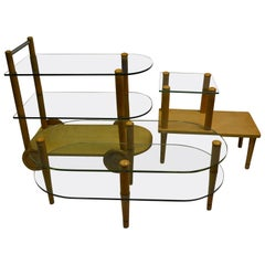 Gilbert Rohde Midcentury Trio of Tables, Coffee, End and Bar Tea Cart