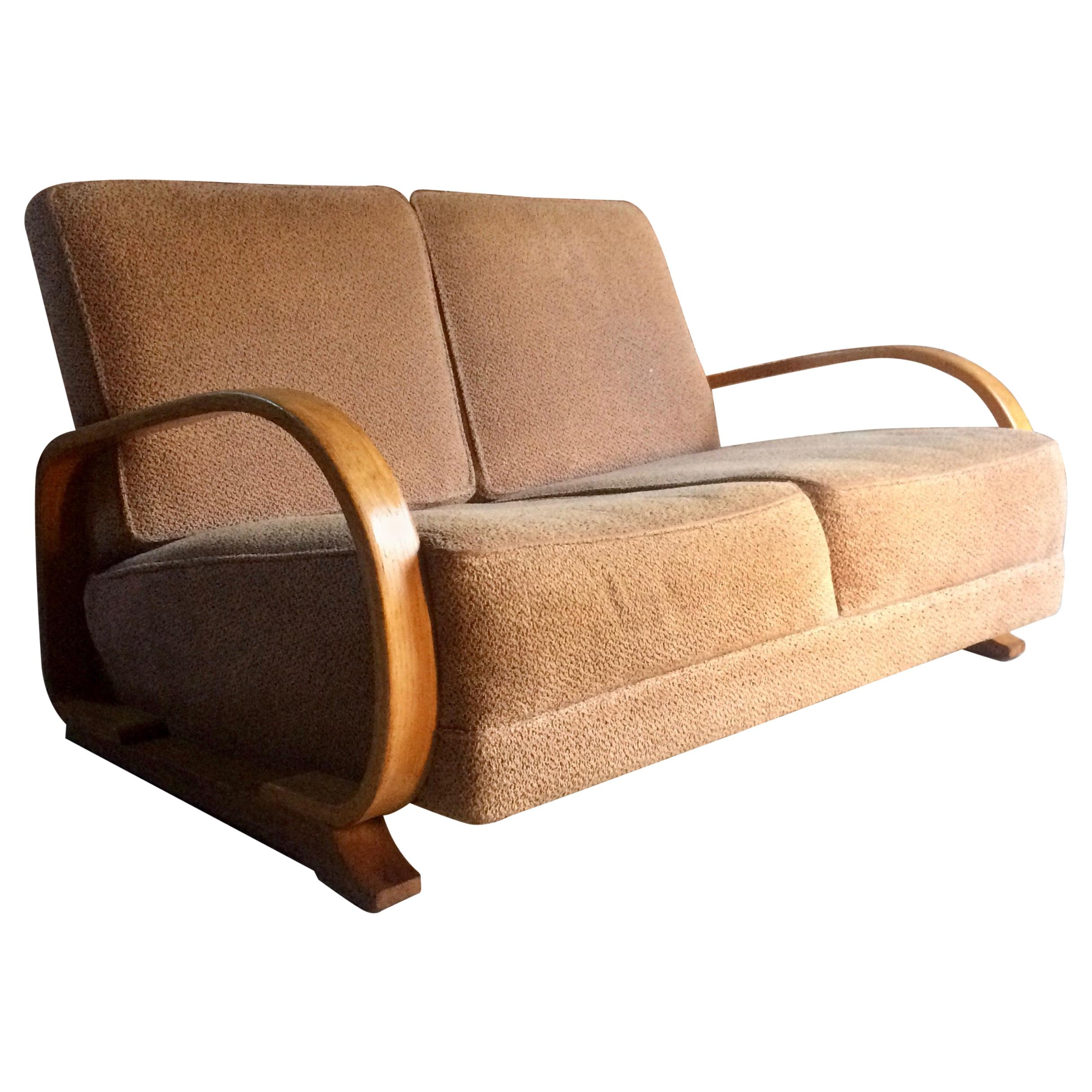Gilbert Rohde Sofa Settee Two-Seat Art Deco Streamline, circa 1930