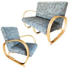Gilbert Rohde Streamline Art Deco Settee and Lounge Chair Set