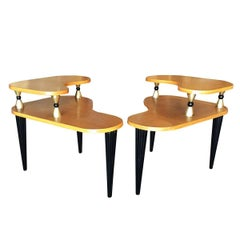 Gilbert Rohde Style Two-Tier Biomorphic Side Table, Pair