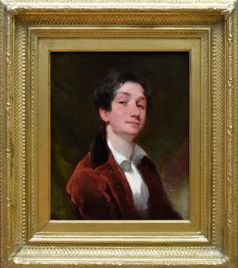 Aristocratic Georgian Boy - Late 18th Century Portrait Oil Painting - Brown Portrait Painting by Gilbert Stuart
