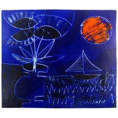 Gilbert Valentin, Les Archanges, Ceramic Wall Plaque, Vallauris, 1950s
