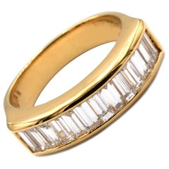 Gilberto Cassola Baguette Diamonds Yellow Gold Ring Made in Italy