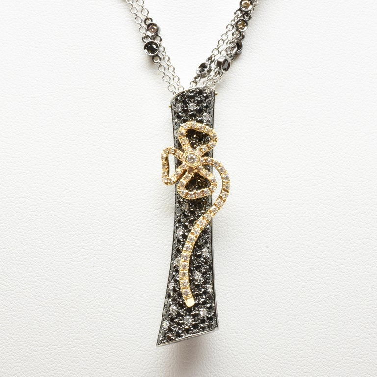 Rose Cut Black and White Diamonds Black Gold Necklace Made in Italy For Sale
